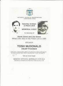 NUM Memorial Event for David Jones and Joe Green 12th March Barnsley