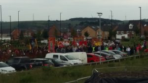 View of rally outside Winter Green pub near the site of the Battle of Orgreave 31 years ago