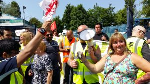 Debbie Loy BFAWU Branch Sec gets a cheer from her members on the picket line